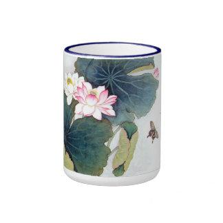 refresque el arte chino de la mariposa de la flor taza de dos colores