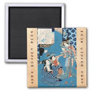 Refresque el arte japonés de las señoras y del niñ imán cuadrado