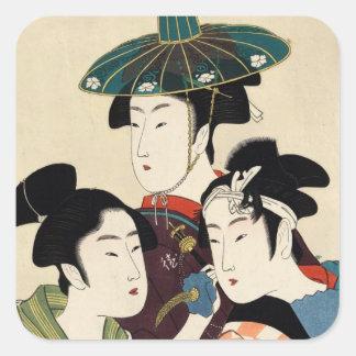Refresque el arte japonés del geisha de la señora pegatina cuadrada