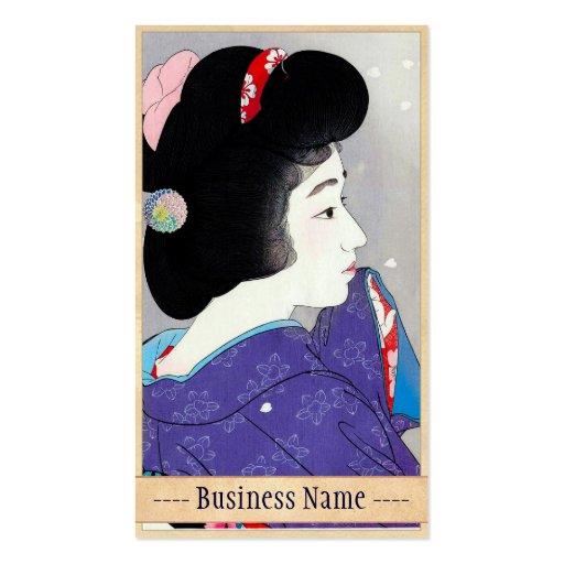 Refresque el arte japonés del retrato del geisha d tarjetas de visita