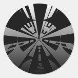 Refresque el arte moderno del rectángulo en negro pegatina redonda
