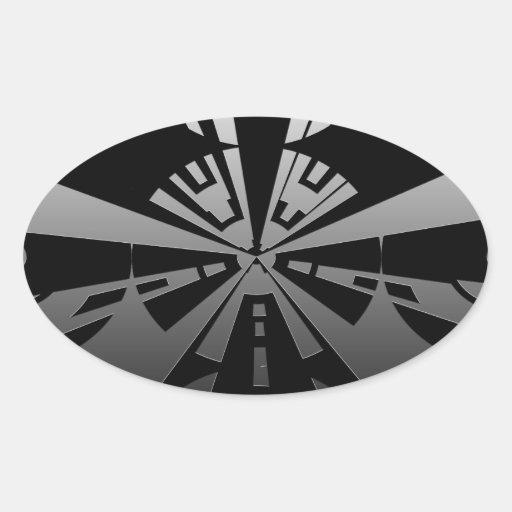Refresque el arte moderno del rectángulo en negro pegatina ovalada