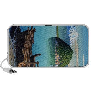 Refresque el arte oriental del barco de la playa d iPod altavoces
