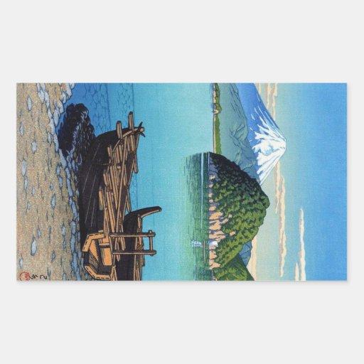 Refresque el arte oriental del barco de la playa pegatina rectangular
