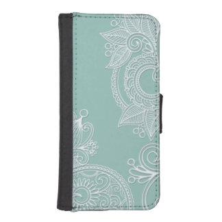 Refresque el blanco grabado en relieve y acuñe fundas tipo billetera para iPhone 5