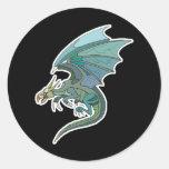 refresque el dragón verde-entonado pegatinas redondas