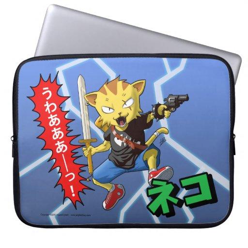 Refresque el gato amarillo con el arma y espada y  fundas portátiles