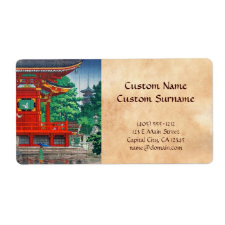 Refresque el hanga japonés del templo del día lluv etiquetas de envío