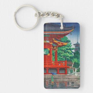 Refresque el hanga japonés del templo del día lluv llavero rectangular acrílico a doble cara