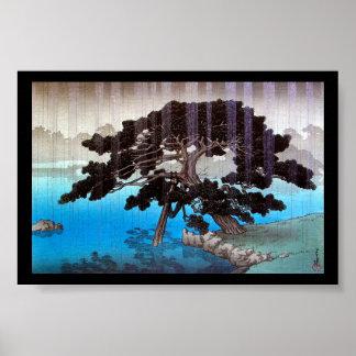 Refresque el lago de la lluvia de Hasui Kawase del Poster