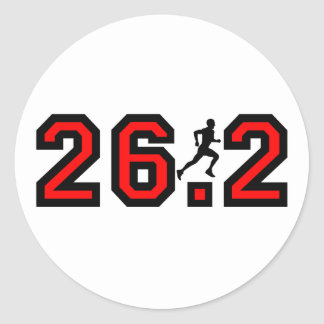 Refresque el maratón 26,2 pegatina redonda