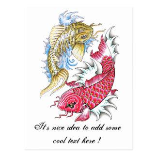 Refresque el tatuaje rojo de Yin Yang del oro de l Postal