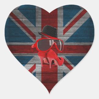 Refresque la bandera roja del Union Jack de los Pegatina Corazon