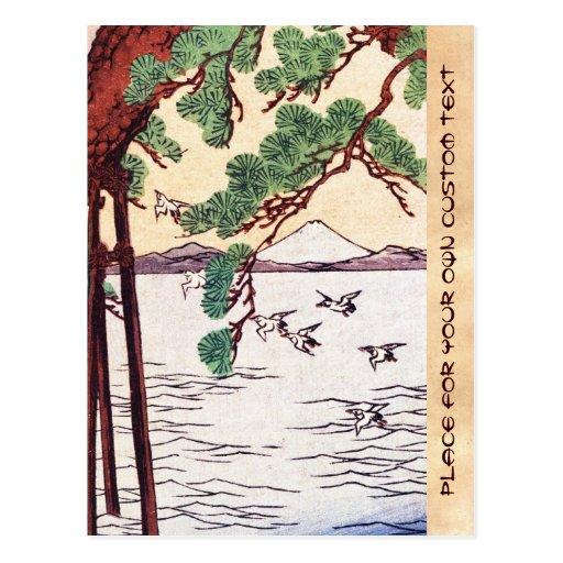 Refresque la escena japonesa de los pájaros del ár tarjeta postal
