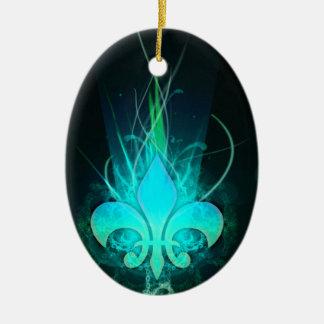 refresque la flor lis del drenaje adorno ovalado de cerámica