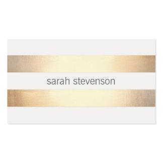 Refresque la hoja de oro real rayada oro simple tarjetas de visita