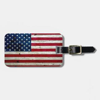 Refresque la madera apenada de la bandera american etiquetas maleta