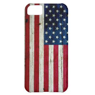 Refresque la madera apenada de la bandera american funda para iPhone 5C