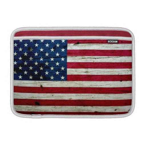 Refresque la madera apenada de la bandera american funda para macbook air