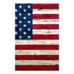 Refresque la madera apenada de la bandera american papeleria