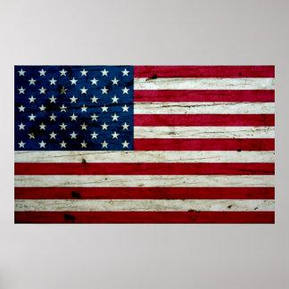Refresque la madera apenada de la bandera american póster