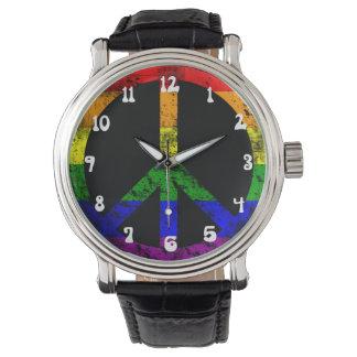 Refresque la paz apenada de la bandera del arco relojes de pulsera