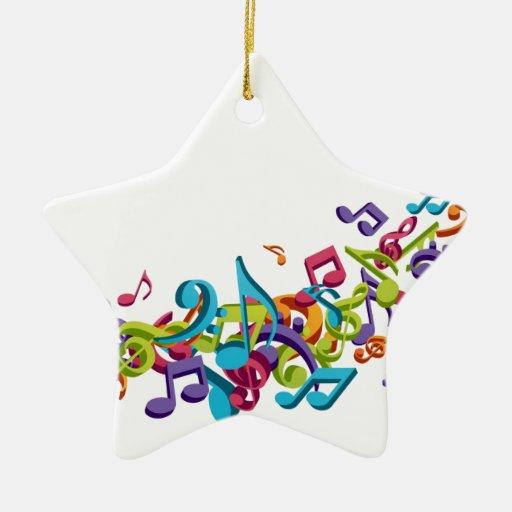 refresque las notas coloridas de la música y suena adorno navideño de cerámica en forma de estrella