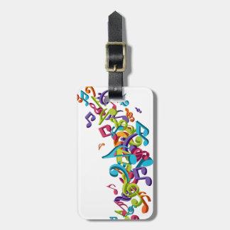 refresque las notas coloridas de la música y suena etiquetas para maletas