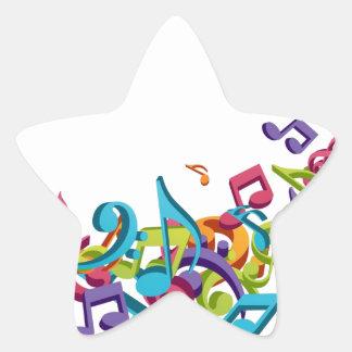 refresque las notas coloridas de la música y suena pegatina en forma de estrella
