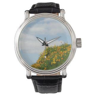 Refresque las nubes del cielo azul del prado de la relojes de mano