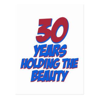 refresque los diseños del cumpleaños de 30 años tarjeta postal