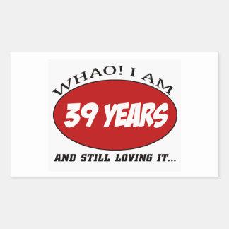 refresque los diseños del cumpleaños de 39 años pegatina rectangular