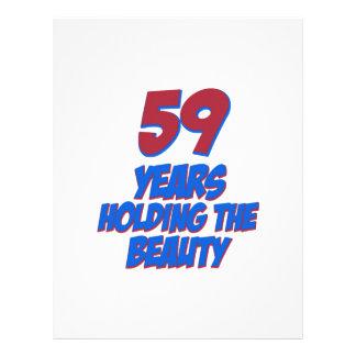 refresque los diseños del cumpleaños de 59 años membretes personalizados