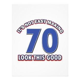 Refresque los diseños del cumpleaños de 70 años membretes personalizados