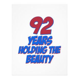 refresque los diseños del cumpleaños de 92 años membretes personalizados