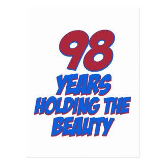 refresque los diseños del cumpleaños de 98 años tarjetas postales