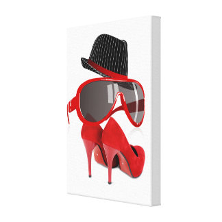 Refresque los zapatos y los vidrios rojos del gorr impresion de lienzo