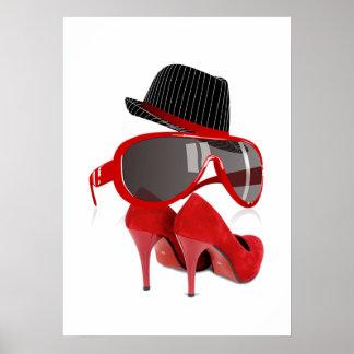 Refresque los zapatos y los vidrios rojos del gorr póster