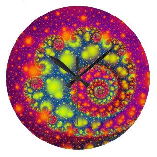 Refresqúese fuera de este diseño colorido del frac reloj redondo grande