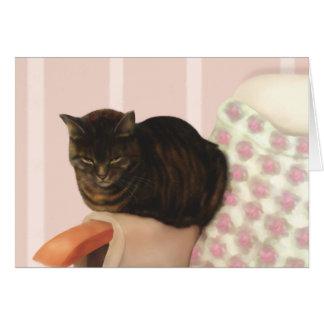 Refrigeración hacia fuera del gato tarjeta de felicitación