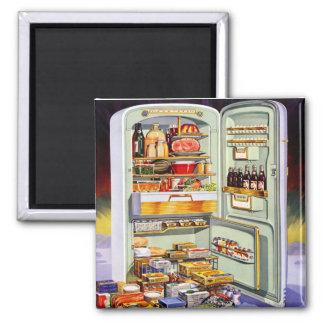 Refrigerador clásico 'Fridge lleno del vintage del Imán Cuadrado