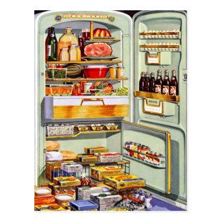 Refrigerador clásico Fridge lleno del vintage del Tarjetas Postales