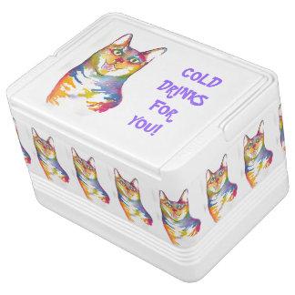 Refrigerador colorido del gato de la diversión hielera igloo
