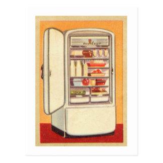Refrigerador de la obra clásica del vintage del postales