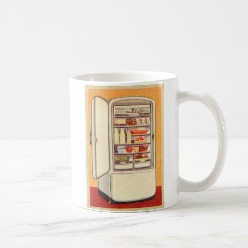 Refrigerador de la obra clásica del vintage del taza de café