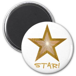 """Refrigerador """"ESTRELLA de la estrella del oro!"""" Imán Redondo 5 Cm"""