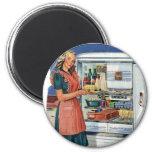Refrigerador lleno de la cocina retra de las mujer imán de frigorífico