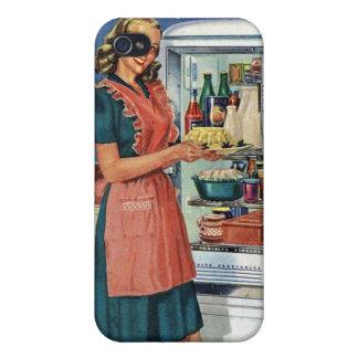 Refrigerador lleno de la cocina retra de las mujer iPhone 4/4S fundas