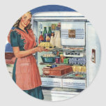 Refrigerador lleno de la cocina retra de las etiqueta redonda