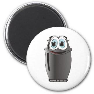 Refrigerador negro del dibujo animado imán redondo 5 cm